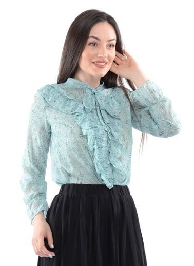 Reyon Desenli Fırfırlı  Kadın Gömlek Mint Yeşil